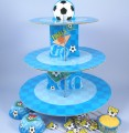 Cake Stand: Cake Box Blue Football Cupcake Stand Kit x24pc